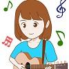 吹き出し 女性ギター②SMILE