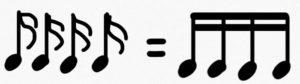 音符 16分音符連結